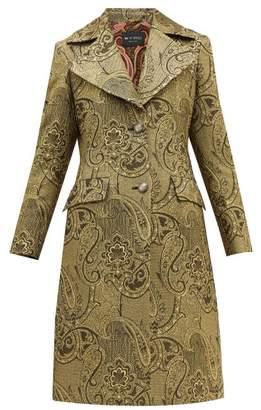 Etro Cumbria Single Breasted Paisley Brocade Coat - Womens - Gold
