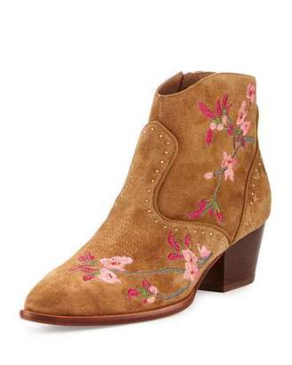 Ash Heidi Embroidered Western Bootie, Russet $240 thestylecure.com