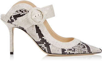 Jimmy Choo HENDRIX 85 Natural Mix Printed Ayers and Linen Closed Toe Mule
