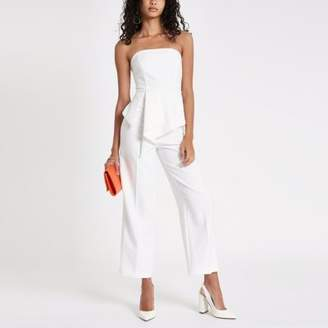 River Island White frill front bardot jumpsuit
