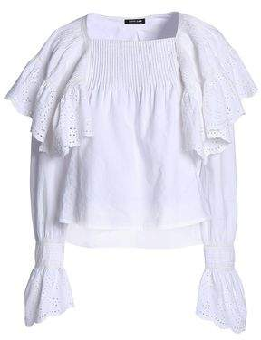 Love Sam Ruffled Broderie Anglaise Pintucked Cotton Top