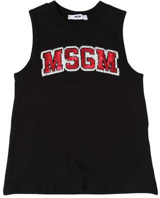 MSGM Logo Cotton Jersey Tank Top