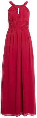 Quiz Raspberry Embroidered High Neck Maxi Dress