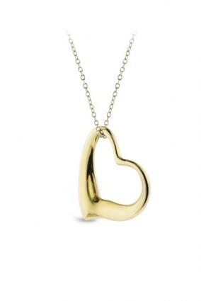 Tiffany & Co. very good (VG Elsa Peretti 18k/14k Yellow Gold Open Heart Pendant Necklace