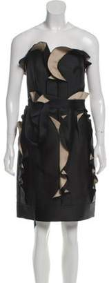 Lanvin Strapless Ruffle-Trimmed Dress Black Strapless Ruffle-Trimmed Dress