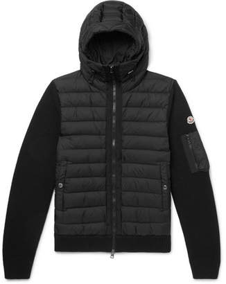 Moncler Panelled Wool-Blend and Quilted Shell Hooded Down Jacket - Black