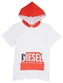 Diesel Boy's Short-Sleeve Cotton Logo Hoodie