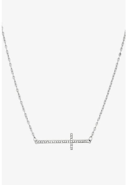 Torrid Silver Rhinestone Cross Necklace