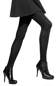 Hue Cable Knit Tights with Control Top - Black