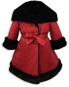 Helena and Harry Little Girl's& Girl's Reversible Faux Fur Coat