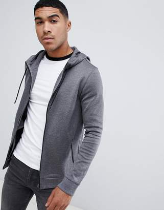HUGO Debasti zip thru hoodie in gray