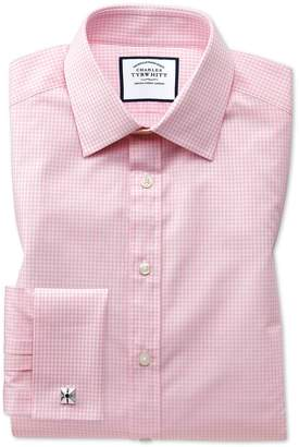 Charles Tyrwhitt Extra Slim Fit Light Pink Small Gingham Cotton Dress Shirt French Cuff Size 16.5/35