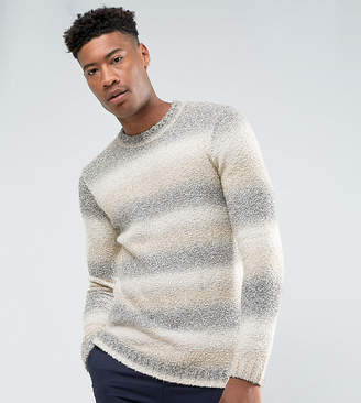 Asos Tall Boucle Textured Jumper With Faded Stripes In Cream