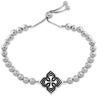 Celtic Symbols Of Strength Crystal Accent Cross Bolo Bracelet in Fine Silver-Plate