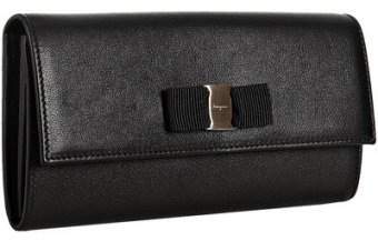 Ferragamo black leather bow detail continental wallet