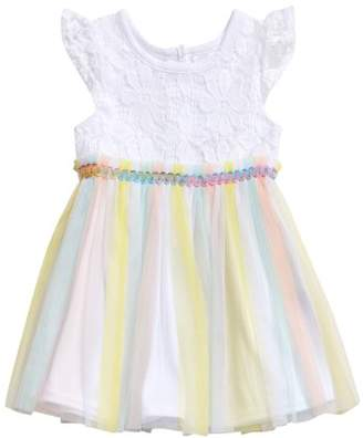 Youngland Toddler Girl Lace And Rainbow Tulle Skirt Occasion Dress