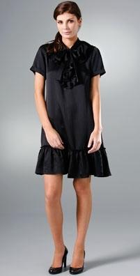 DKNY Short Sleeve Ruffle Front Dress