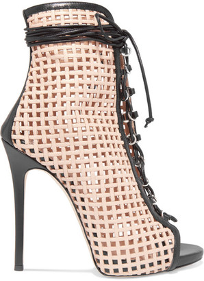 Giuseppe Zanotti - Laser-cut Leather Ankle Boots - Beige $1,350 thestylecure.com