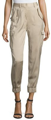 Boutique Moschino Cropped Satin Safari Trousers, Khaki $750 thestylecure.com