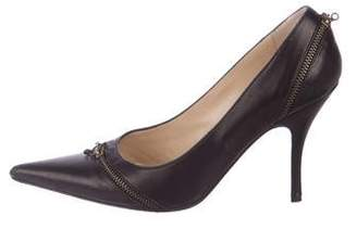 Alexander McQueen Leather Pointed-Toe Pumps