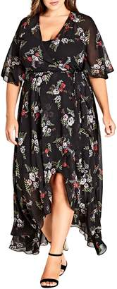 City Chic Floral Agave Wrap Dress