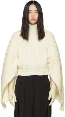Awake Off-White Button Back Turtleneck