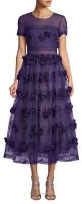 Marchesa Floral Lace Tea-Length Dress