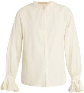 BLISS AND MISCHIEF Ruffled-cuff poplin blouse