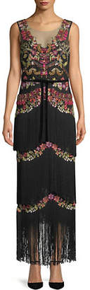 Marchesa Floral Fringe Evening Gown