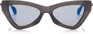 Jimmy Choo DONNA Blue Sky Mirror Cat Eye Sunglasses with Grey Glitter