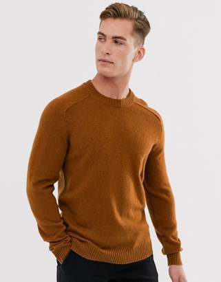 Selected wool crew neck jumper in burnt orange