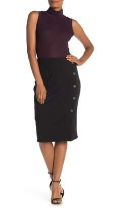 14th & Union Ponte Button Wrap Skirt