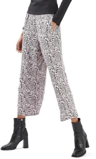 TopshopWomen's Topshop Jacquard Wide Leg Crop Trousers