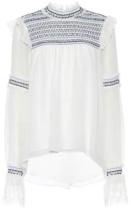 Jonathan Simkhai Embroidered silk top