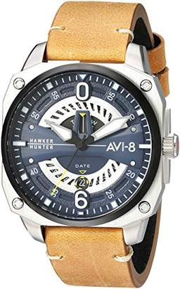 Hunter AVI-8 Men's 'Hawker Hunter' Quartz Stainless Steel and Leather Aviator Watch