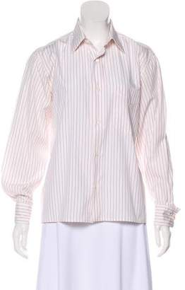 Hermes Pinstripe Button-Up Top