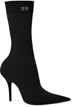 Stretch-jersey Sock Boots - Black