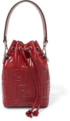 Fendi Mon Trésor Small Embossed Leather Bucket Bag - Burgundy