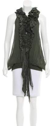 Elizabeth and James Sleeveless Ruffle-Trimmed Top