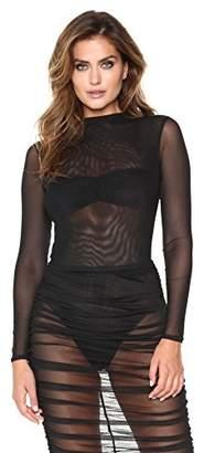 Velvet Rope Women's Mock Neck Long Sleeve Sheer Mesh Bodysuit