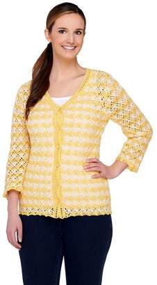 Liz Claiborne New York Bi-Color Crochet Cardigan