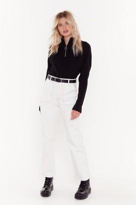 Nasty Gal Womens Thank You Stitch Straight-Leg Jeans - White - 6, White