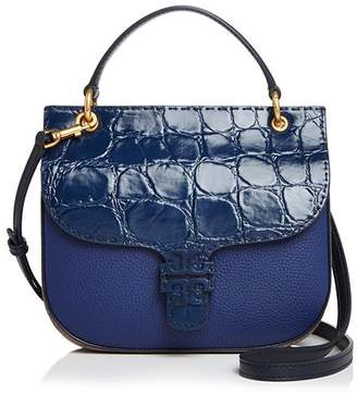 Tory Burch McGraw Embossed Leather & Suede Satchel
