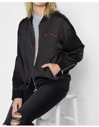 7 For All Mankind Graphic Satin Things Change Bomber In Black With Red Embroidery