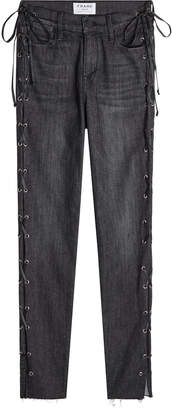 Frame Le High Skinny Jeans with Lace-Up Sides