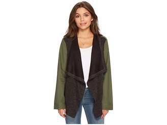 BB Dakota Lakani Cotton Twill Jacket with Contrast Drapey Knit Front Women's Coat