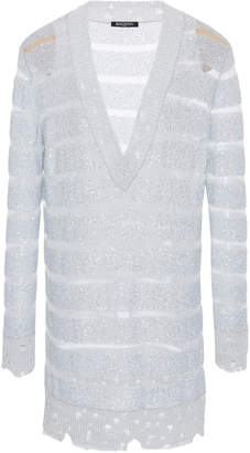 Balmain Oversized V-Neck Stripe Knit Dress