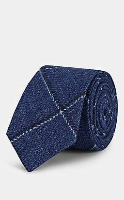 Alexander Olch Men's Diagonal-Windowpane Wool-Cotton Necktie - Navy