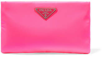Prada Small Neon Leather-trimmed Shell Pouch - Pink