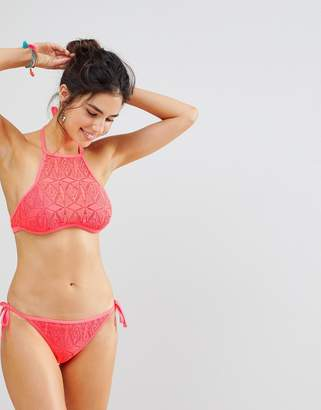 New Look Crochet High Neck Bikini Top